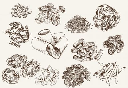set de pasta de dibujos vectoriales Ilustración de vector