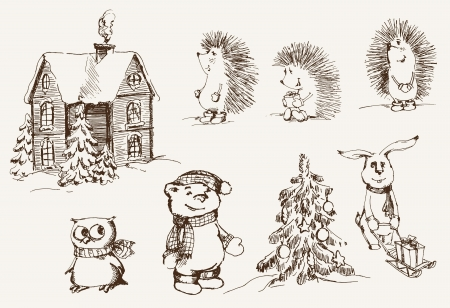 Christmas mood  set of vector sketches Vector