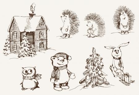 rejoicing: Natale insieme umore di disegni vettoriali Vettoriali
