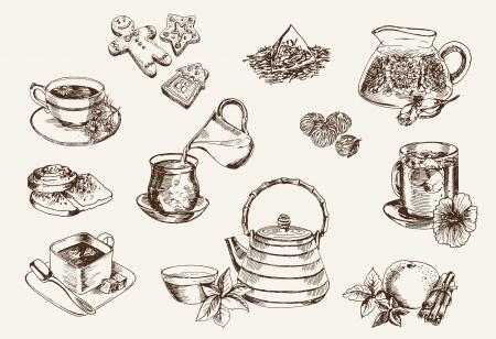 Sommige soorten thee en het proces van de bereiding Stock Illustratie