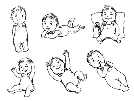 crawling: babbie  set of vector sketches