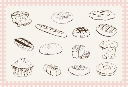 bakery products: bakery products  set of vector sketches