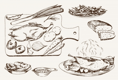 wildfowl: dish of wild ducks  set of vector sketches