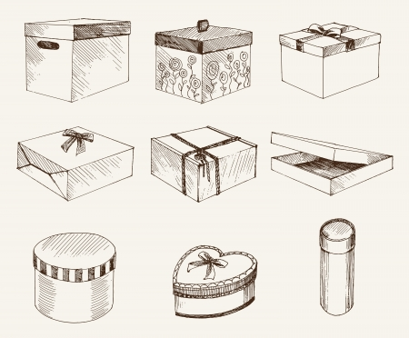 unwrapped: gift wrap  set of vector sketches Illustration
