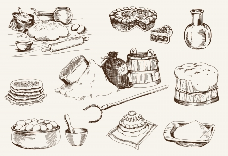 bakery oven: dough at home  set of vector sketches Illustration