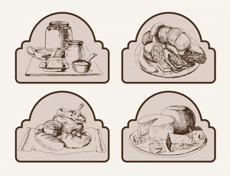 Alimentos Conjunto de dibujos vectoriales Foto de archivo - 22406413