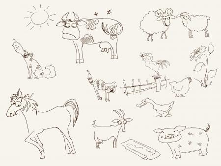 garabatos: animales de granja conjunto de dibujos vectoriales