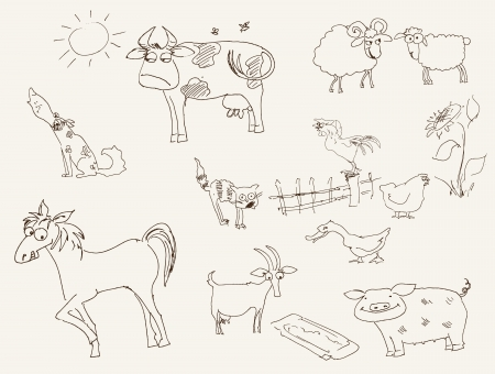 cock duck: farm animals  set of vector sketches