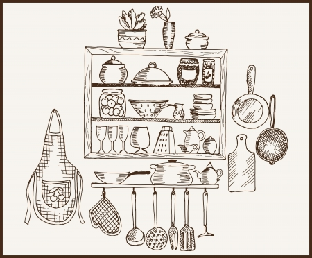 kitchenware  set of vector sketches Illustration
