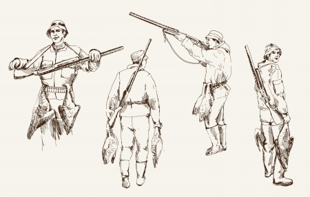 Compilation of vector illustrations of hunter while hunting
