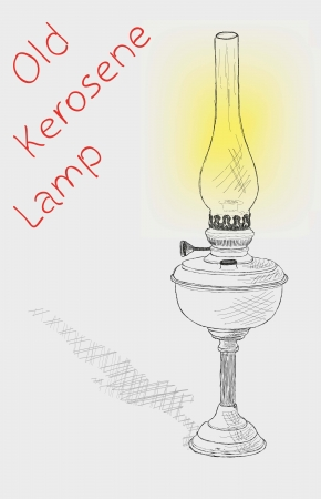 kerosene lamp: old kerosene lamp. vector sketch Illustration