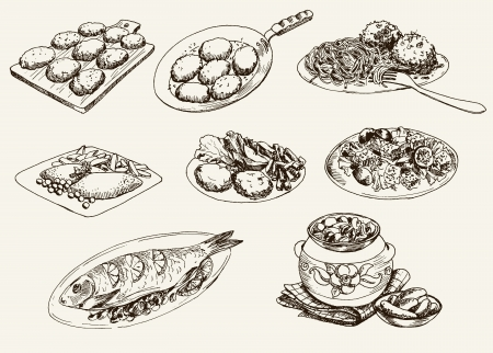 main dishes. set of vector sketches Illustration