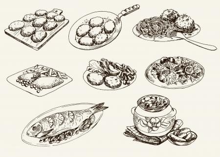 main dishes: platos principales. Conjunto de dibujos vectoriales