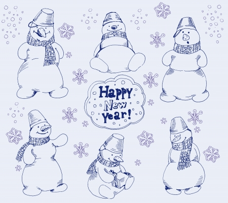 stovepipe: snowman. set of vector sketches