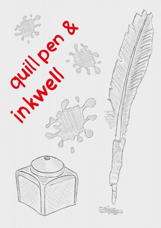 quill pen: quill pen and inkwell. vector sketch