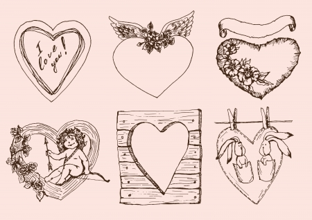 Vintage hearts for Valentines Day  set of vector sketches Vector