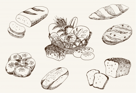 wheaten: bakery products  set of vector sketches