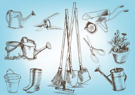secateurs: garden tools  set vector sketches