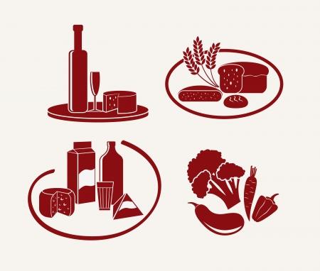 produits alimentaires: icônes de la nourriture et des boissons