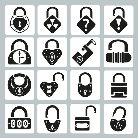 combinations: set of vector icons padlocks