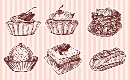 confectionery  set of vector sketches Vector