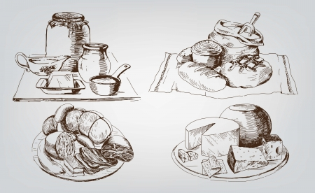 ham and cheese: foodstuffs  set of vector sketches