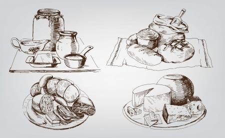 creamer: foodstuffs  set of vector sketches