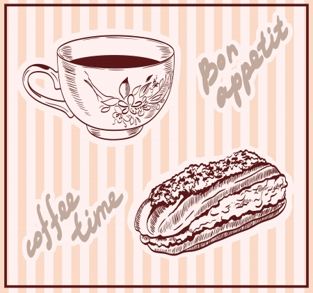 eclair: coffee time  set of vector sketches