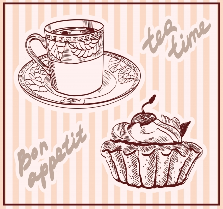 tea time  set of vector sketches