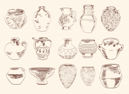 clay pot: archaeological finds  vases and pitchers Illustration
