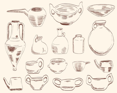 archaeological: archaeological finds  vases and pitchers Illustration