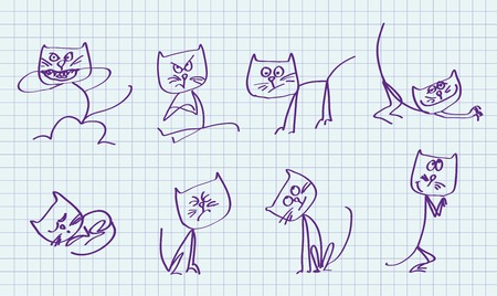 cartoons outline: cute cat  set of vector sketches