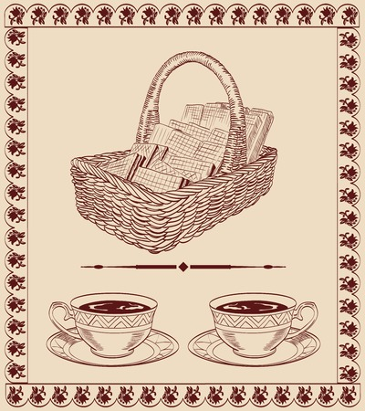 basket with sweets  vector sketch