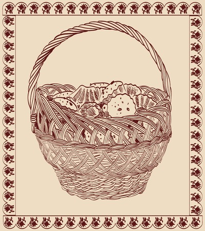 basket with sweets  vector sketch Vector