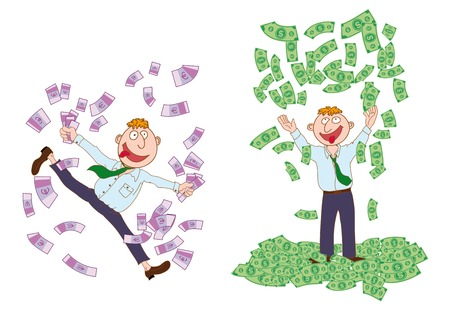 cartoons outline: millionaire. set of vector sketches