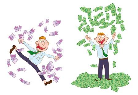 millonario: millonario. Conjunto de dibujos vectoriales