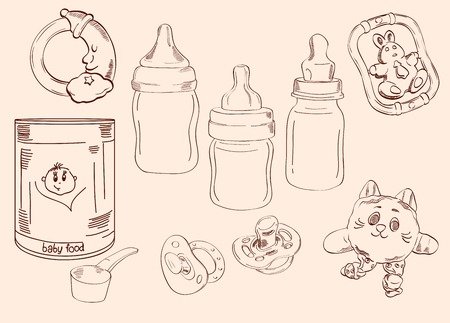 childcare: toys and childcare  set of vector sketches Illustration