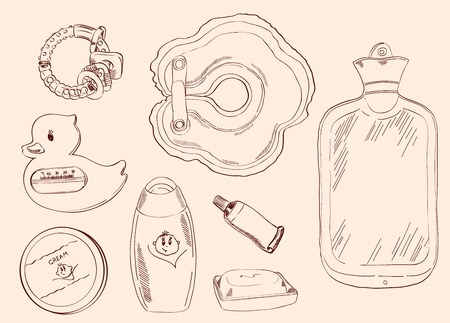 handmade soap: toys and childcare  set of vector sketches Illustration