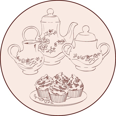 vector sketch instruments tea set and sweets Vector
