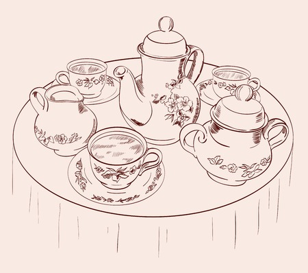 vector sketch beautifully decorated tea set on the table Vector