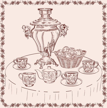 samovar: vector sketch beautifully decorated tea set on the table