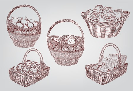 fruits basket: Set of five vector sketches depicting baskets of sweets and fruits