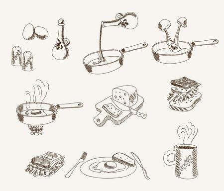 huevos fritos: proceso de cocción de los huevos revueltos para el desayuno. Conjunto de dibujos vectoriales Vectores