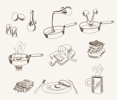 white bread: process of cooking scrambled eggs for breakfast. set of vector sketches