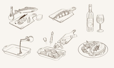 fish steak: step by step process of cooking fish. Vector sketches Illustration