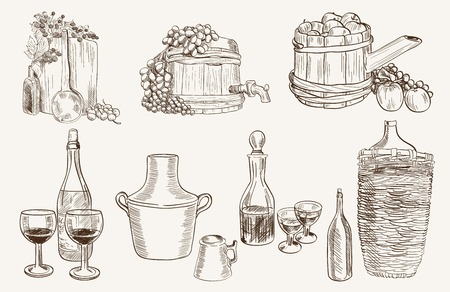 winemaking: production and tasting homemade wine. set of vector sketches