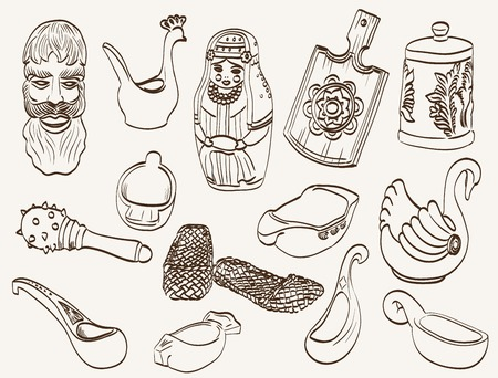 matroshka: souvenirs from Russia. set of vector sketches Illustration
