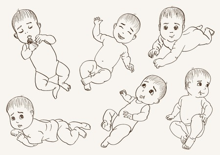 babbie. set of vector sketches on grey
