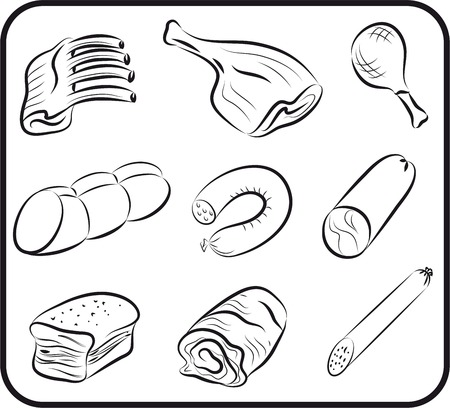 meat set sketches Vector