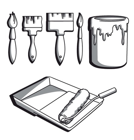 painting and decorating: set of icons on the theme of painting tools Illustration